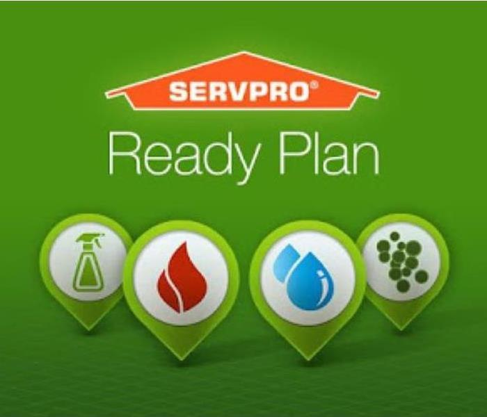 Green backdrop. SERVPRO Ready logo. shows icons of cleaner spray, fire, water drop and mold spores