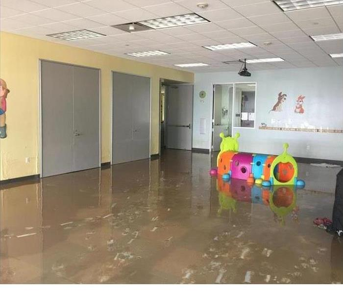 flooded preschool classroom